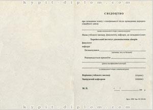 Свидетельство Института усовершенствования врачей 1995-1999 годов
